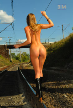 Ingrid Hobo naked on the railroad