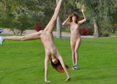 Twins Gia and Noma Hill playing sport outdoors totally naked