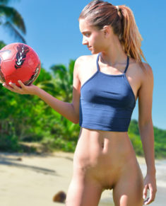 Sexy teen playing soccer