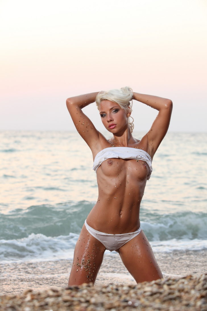 Gertruda wet and topless on the beach