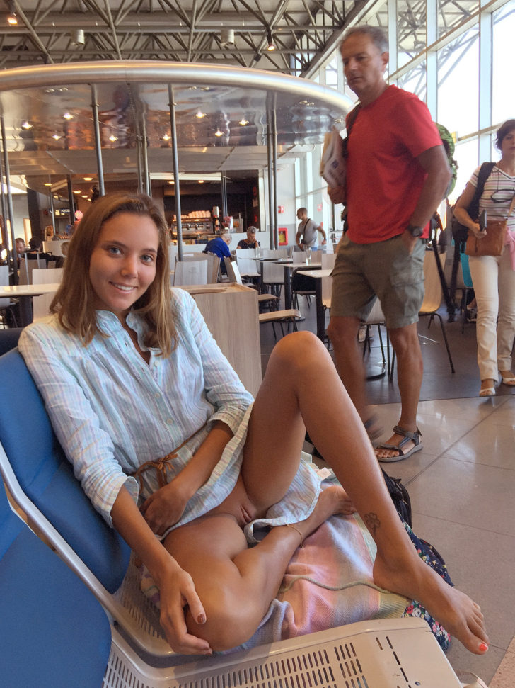 Katya Clover flashing her pussy in public in an airport!