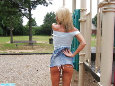 Young teen Foxy Jacky playing almost nude on the playground