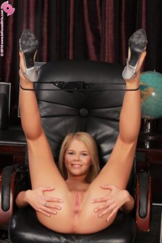 Young blonde beauty Cherry Pink with perfect tight body