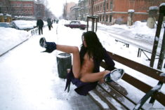 Funny exhibitionist in winter
