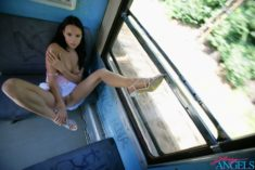 Young exhibitionist in a train