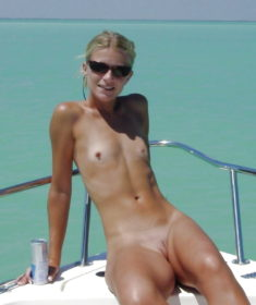 Skinny blonde amateur on a yacht
