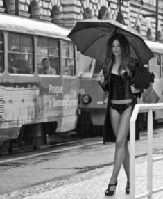 Sexy woman in the rain