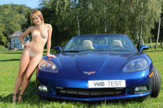 Malinda and a blue Corvette
