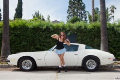 Sexy Tabitha Easley and a white vintage sports car | Most Beautiful Sports Cars