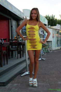 Perfect Katya Clover in see-through yellow dress in public