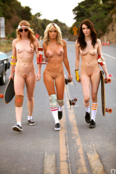 Group of nudist teens