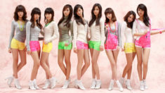 Group of young perfect Japanese teens with stunning legs