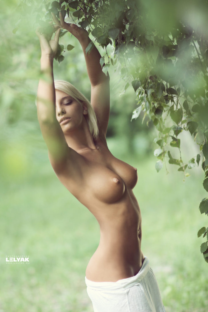 Perfect blonde beauty topless
