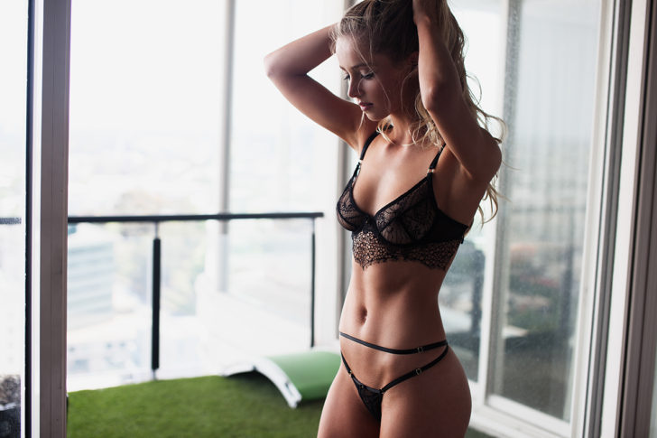 Young blonde beauty in sexy lingerie