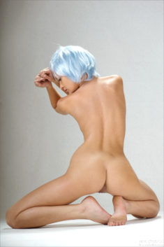 Perfect model beauty Monika F in Baby Blue