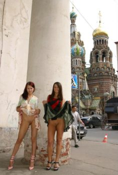 Young sluts flashing their shaved pussy at the Red Square, Moscow