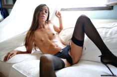 Sexy Carin in black lingerie