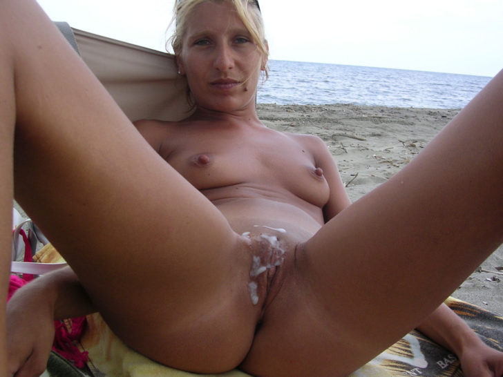 Amateur nudist milf cum covered on the beach