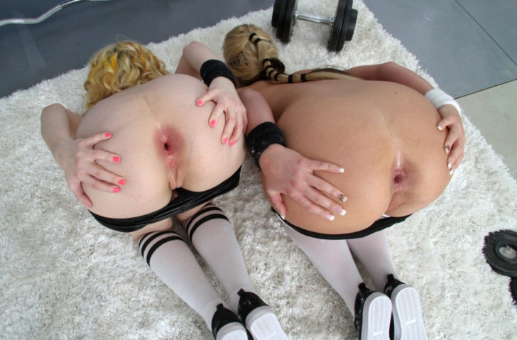 Lesbian slaves spreading their asses wide open