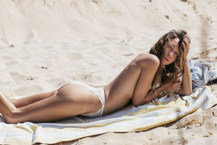 Beautiful model Lucette Romy nude on the beach by Cameron Mackie