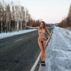 Young nude hitchhiker