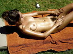 Young oiled nudist