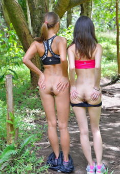 Young sluts Aubrey and Mary spreading their tight ass in woods