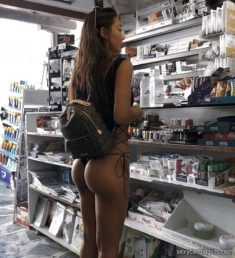Sexy shopping in thong