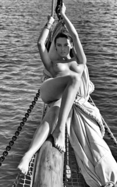 Beauty Miriam Rathmann on a boat