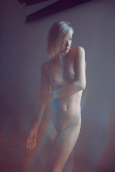 Perfect blonde nude model