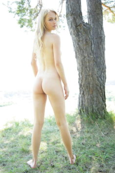 Cute young blonde nude in nature