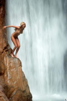 Ready to jump nude in the waterfall