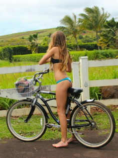 Perfect body teen on bicycle