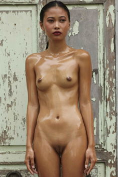 Young Asian beauty oiled