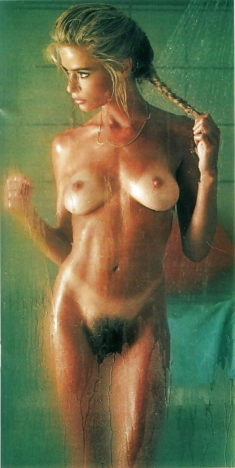 Perfect babe Marianne Gravatte taking a shower