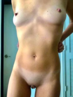 Perfect smooth skinny body with perky tits