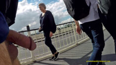 Daring Public Erection Street Flashing Wednesday – dick and balls totally exposed out on t ...