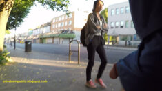 Wednesday public erection flashing – She looks at his exposed cock as he walks past on the ...