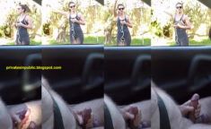 Public Erection Masturbation Carflash – a very pretty trim fit young lady happily gives hi ...