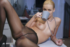 Young beauty Nordica having a coffee