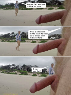 Public erection flasher exhibitionist CFNM dickflash on the beach comic – Relaxation is di ...