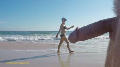 Public erection flasher exhibitionist dickflash CFNM on the beach – Public erection attrac ...