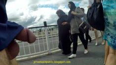 Public erection flasher exhibitionist dickflash on the street – passing by the veiled ladies
