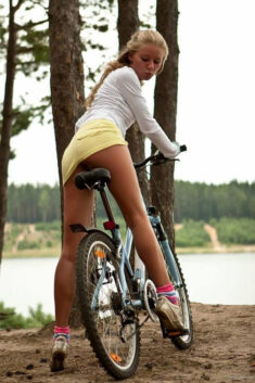 Sexy teen in bicycle
