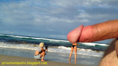 Public erection flasher exhibitionist CFNM dickflash – public erection passes a beach phot ...