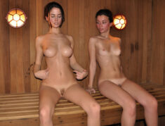 Oiled young beauties in the spa