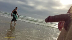 Public erection flasher exhibitionist CFNM dickflash beach nudity – she is totally focusse ...