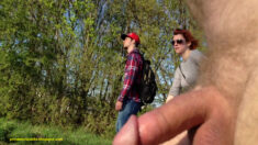 Public erection flasher exhibitionist dickflash CFNM – Surprize for rollerblading couple i ...