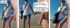 Public Erection Flasher Exhibitionist CFNM on the Beach Comic – He doesn't know whet ...