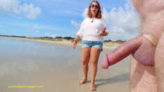 Public Erection Flasher Exhibitionist CFNM Beach Nudity – She comes up to him and is fasci ...